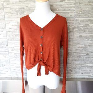 3/$24 garage rust tie front blouse